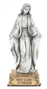 Our Lady of Grace Pewter Statue 4 Inch [HRST200]