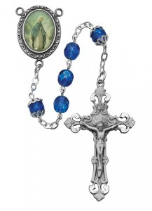 Our Lady of Grace Rosary with Blue Beads [MVRB1086]