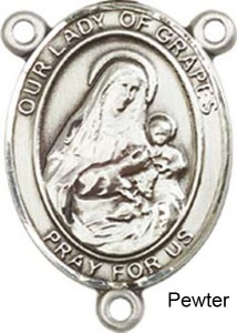 Our Lady of Grapes Rosary Centerpiece Sterling Silver or Pewter [BLCR0445]