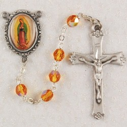 Our Lady of Guadalupe Topaz Glass Rosary [MVER0022]