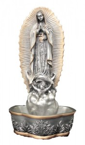Our Lady of Guadalupe Water Font, Silver Gold - 7 1/2 inch [GSS054]