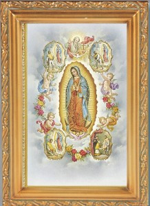 Our Lady of Guadalupe with Visions Antique Gold Framed Print [HFA0066]