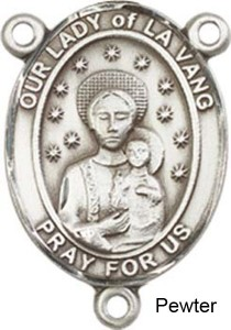 Our Lady of La Vang Rosary Centerpiece Sterling Silver or Pewter [BLCR0281]