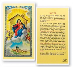 Our Lady of Loreto House Laminated Prayer Cards 25 Pack [HPR282]