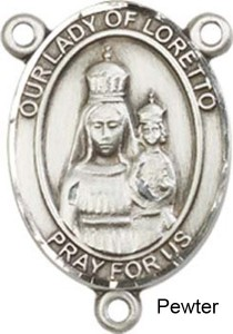 Our Lady of Loretto Rosary Centerpiece Sterling Silver or Pewter [BLCR0249]