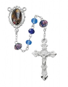 Our Lady of Lourdes Blue Bead Rosary [MVRB1229]