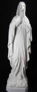 Our Lady of Lourdes Statue White Marble Composite - 25.25 inch [VIC4084]