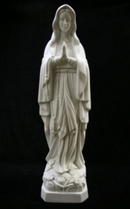 "Our Lady of Lourdes Statue White Marble Composite - 27 1/2"" [VIC6001]"