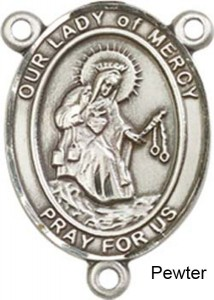 Our Lady of Mercy Rosary Centerpiece Sterling Silver or Pewter [BLCR0387]