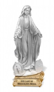 Our Lady of Miraculous Medal Pewter Statue 4 Inch [HRST830]