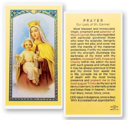 Our Lady of Mt. Carmel Laminated Prayer Cards 25 Pack [HPR275]