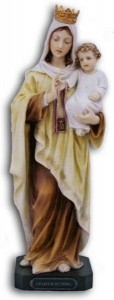 Our Lady of Mt. Carmel Statue, Hand Painted - 10 inch [GSS082]
