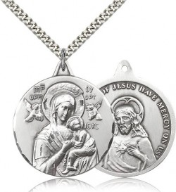 Double Sided Our Lady of Perpetual Help and Sacred Heart Medal [CM2139]