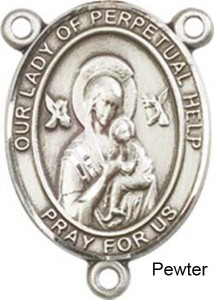 Our Lady of Perpetual Help Rosary Centerpiece Sterling Silver or Pewter [BLCR0323]