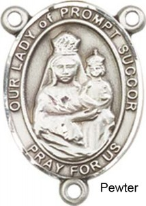 Our Lady of Prompt Succor Rosary Centerpiece Sterling Silver or Pewter [BLCR0397]