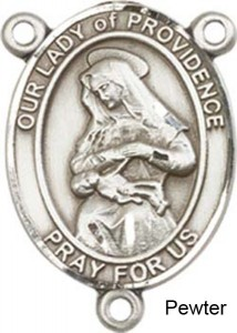 Our Lady of Providence Rosary Centerpiece Sterling Silver or Pewter [BLCR0254]