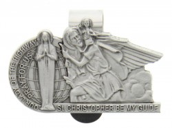 "Our Lady of the Highway and St. Christopher Visor Clip, Pewter - 2 1/2""W [AU0013]"