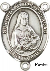 Our Lady of the Railroad Rosary Centerpiece Sterling Silver or Pewter [BLCR0346]