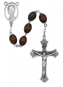 Oval Brown Bead Wood Rosary [MVRB1161]