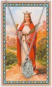 Oval St. Barbara Pewter Medal with Prayer Card [PC0087]