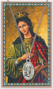 Oval St. Catherine of Alexandria Medal with Prayer Card [PC0088]