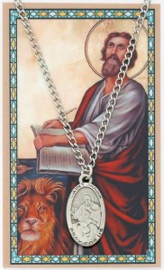 Oval St. Mark Medal with Prayer Card [PC0014]