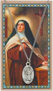 Oval St. Teresa of Avila Medal with Prayer Card [PC0089]