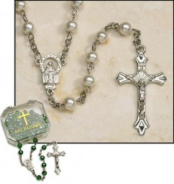 Pearl Silver Plated Rosary - 4 per order [MIL2057]