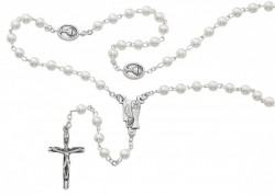 Pearl White First Communion Rosary 5mm [MVC620]