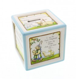 Personalized Baptism Ceramic Block Piggy Bank in Blue [CTC002]