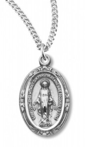 "Petite Oval Miraculous Medal with 18"" Chain [HM0768]"