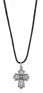 Pewter 4-Way Medal on Adjustable Nylon Cord Necklace [MV1053]