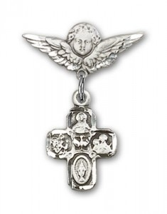 Pin Badge with 4-Way Charm and Angel with Smaller Wings Badge Pin [BLBP0248]