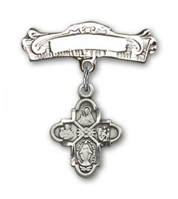 Pin Badge with 4-Way Charm and Arched Polished Engravable Badge Pin [BLBP0128]