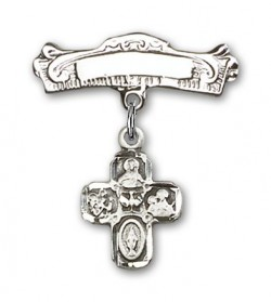 Pin Badge with 4-Way Charm and Arched Polished Engravable Badge Pin [BLBP0246]