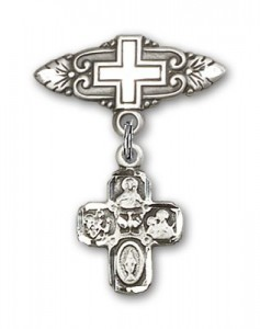 Pin Badge with 4-Way Charm and Badge Pin with Cross [BLBP0245]