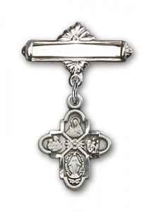 Pin Badge with 4-Way Charm and Polished Engravable Badge Pin [BLBP0126]