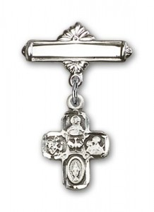 Pin Badge with 4-Way Charm and Polished Engravable Badge Pin [BLBP0244]