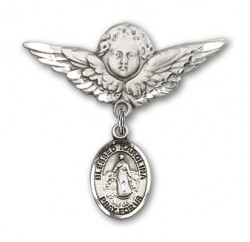 Pin Badge with Blessed Karolina Kozkowna Charm and Angel with Larger Wings Badge Pin [BLBP1850]