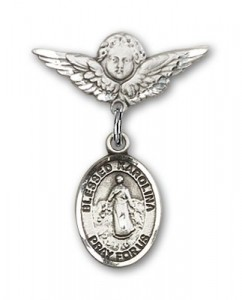 Pin Badge with Blessed Karolina Kozkowna Charm and Angel with Smaller Wings Badge Pin [BLBP1851]