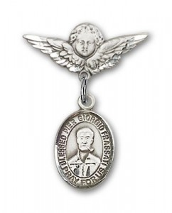 Pin Badge with Blessed Pier Giorgio Frassati Charm and Angel with Smaller Wings Badge Pin [BLBP1817]