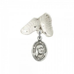 Pin Badge with Blessed Teresa of Calcutta Charm and Baby Boots Pin [BLBP1936]