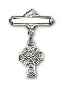 Pin Badge with Celtic Cross Charm and Polished Engravable Badge Pin [BLBP0174]