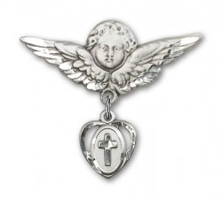 Pin Badge with Cross Charm and Angel with Larger Wings Badge Pin [BLBP0226]