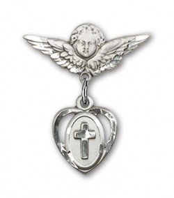 Pin Badge with Cross Charm and Angel with Smaller Wings Badge Pin [BLBP0227]