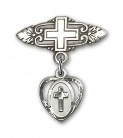 Pin Badge with Cross Charm and Badge Pin with Cross [BLBP0224]