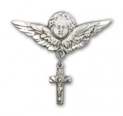 Pin Badge with Crucifix Charm and Angel with Larger Wings Badge Pin [BLBP0184]