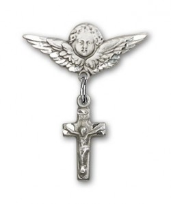Pin Badge with Crucifix Charm and Angel with Smaller Wings Badge Pin [BLBP0185]