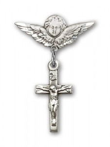 Pin Badge with Crucifix Charm and Angel with Smaller Wings Badge Pin [BLBP0234]
