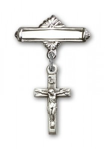 Pin Badge with Crucifix Charm and Polished Engravable Badge Pin [BLBP0230]